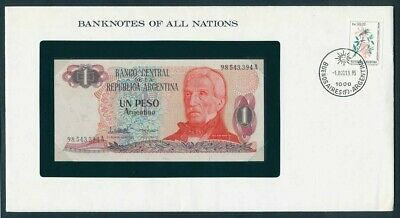 Argentina: 1983 1 Peso Banknote & Stamp Cover, Banknotes Of All Nations Series