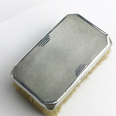 Antique Solid Sterling Silver Art Deco 1935 J Chatterley Sons Old Clothes Brush