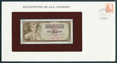 Yugoslavia: 1968 10 Dinara Note & Stamp Cover, Banknotes Of All Nations Series