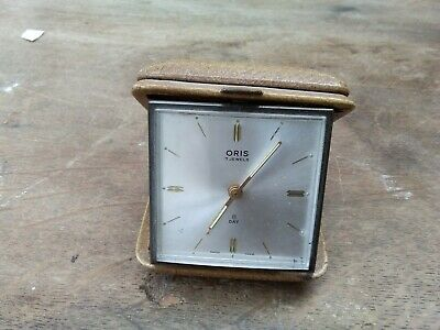 Vintage Oris 8 Day Travel Alarm Clock 7 Jewels