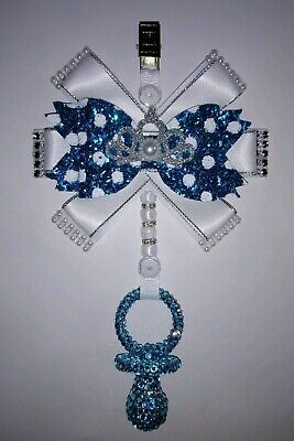 """Beautiful 5"""" Baby Pram Charm with crystal bling dummy, turquoise blue"""