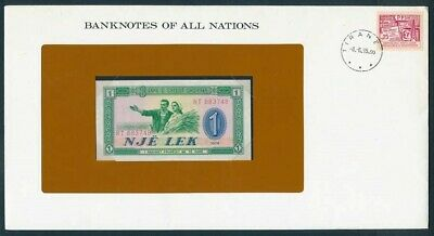 Albania: 1976 1 Lek Banknote & Stamp Cover, Banknotes Of All Nations Series