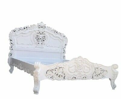 French Rococo Bed Frame Super King 6Ft Antique White Solid Mahogany Hand Carved