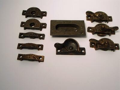 Vintage Hardware Brass Metal Locks Latches Window Sashes Lot 10 Antique Ornate