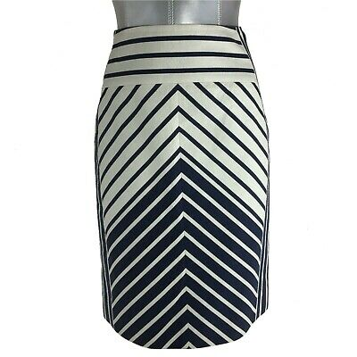 6e9c9afe9 J.Crew Pencil Skirt 6 P Med Navy Blue Cream Stripe Chevron Color Block Work