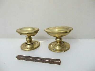 Vintage Brass Door Knobs Handles Beading Oval Architectural Antique Old Pair