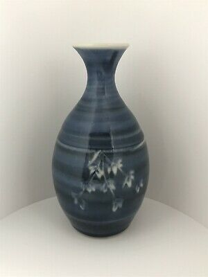Studio Pottery Vase Blue Signed