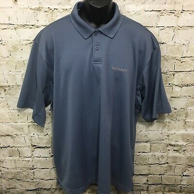 830c2f6aa1b Columbia Mens Size XL Steel Blue Gray Omni Shade Outdoor Fishing Polo Shirt