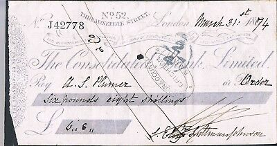 Cheque Consolidated Bank Limited 1874