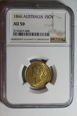 1866 Australia 1 Gold Sovereign NGC AU 50 #008