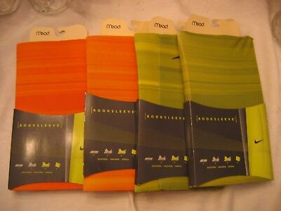 NIP Lot of 4 MEAD Booksleeves 2 Green 2 Orange w/ NIKE logo