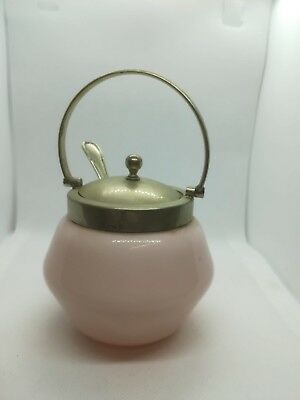 Vintage Silver Plate Pink Class mustard pot with Sliver plate  Spoon in mint con
