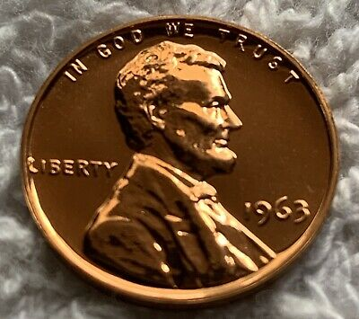 1963 Proof Lincoln Cent Pulled From U.s. Mint Set Wow Look