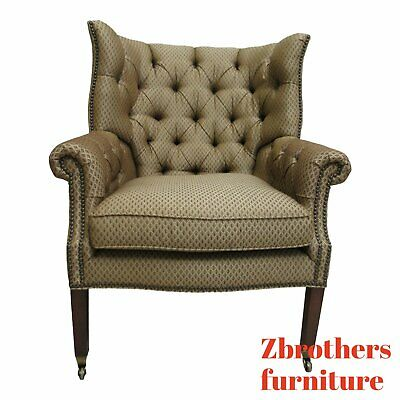 Henredon Chesterfield Style Wing Back Living Room Lounge Chair A