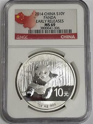 2014 China Silver 1oz Panda 10 Yuan MS69 NGC Early Releases Coin