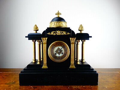 Antique Victorian French Chiming Mantel Clock Black Slate by Samuel Marti 8 Day