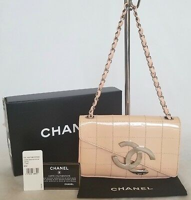 5985246663e6 Authentic CHANEL in box Sac Class Rabat Beige Pink Silver Chain Shoulder Bag