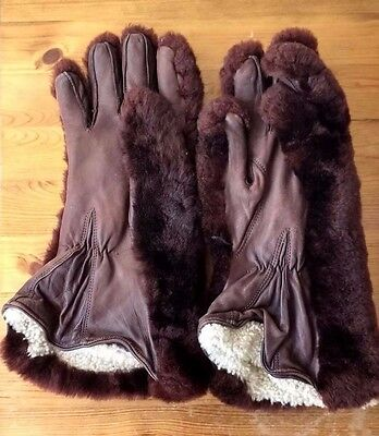 VERY VERY WARM Leather & Fur - Vintage 1950's / 1960's Gloves