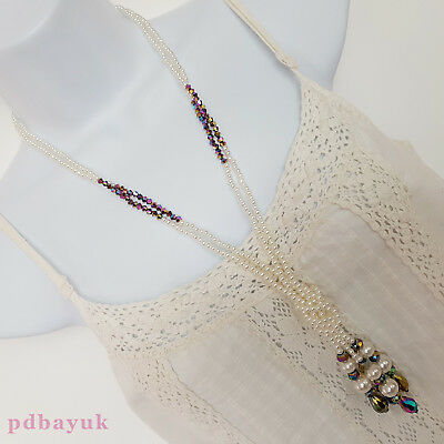 """LONG White Pearl Glass Crystal Faceted Bead Wrapover Necklace 102cm 40"""" NWT~2012"""