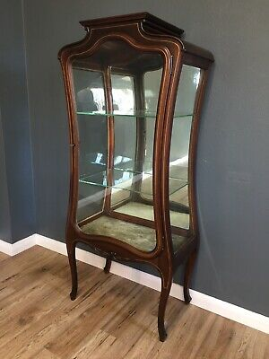 Antique Art Nouveau Brass Inlaid Display Cabinet Curio Cabinet Shop Cabinet