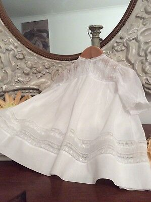 Beautiful Antique French Baby Dress ~Fine Lawn ~Lace ~Broderie Anglaise ~Perfect