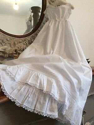 "Vintage French Victorian Baby Christening Gown/Petticoat~Delicate Lace~23"" chest"
