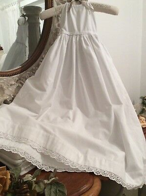Antique French Baby Christening Gown/Petticoat ~ Broderie Anglais Lace Detail