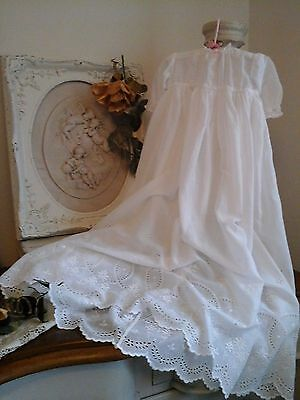 1800 Antique French Baby Christening Gown/Robe~Gorgeous Lawn Cotton/Lace~PERFECT
