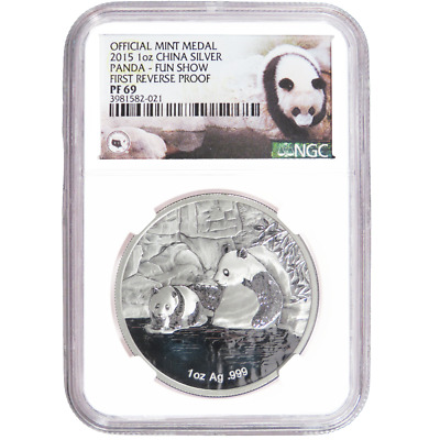 2015 Silver 1oz Offical Mint Medal Chinese Panda Reverse Proof NGC PF69 Fun Show