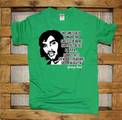 Maglia J364 George Best frase T-shirt irish cool 7 beer and football rule