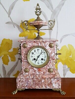 C 1870 Antique Statement Ornate French Pink Marble Mantel Clock Vf Brand Gwo