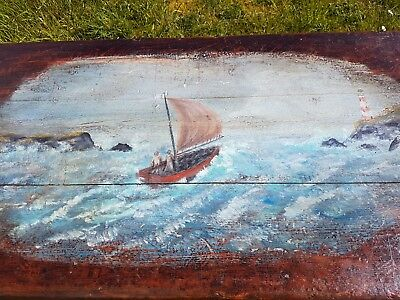 Late Victorian Sailors box c1900 Painted top