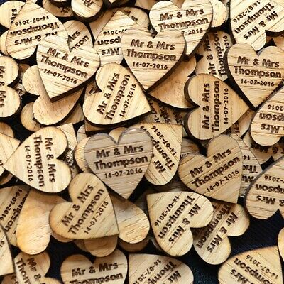 Personalised Rustic Wedding Table Decorations Confetti Hearts Wooden Heart Décor
