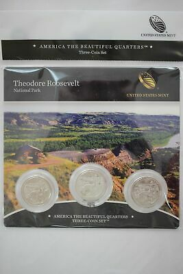 2016 US Mint Theodore Roosevelt National Park ATB Quarters - 3 Coin Set Sealed