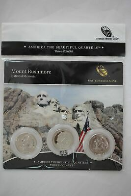 2013 US Mint Mount Rushmore National Memorial ATB Quarters - 3 Coin Set Sealed