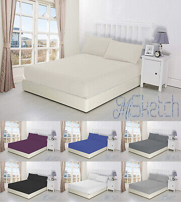 Extra Deep Fitted Sheet 40cm/16in Non Iron Percale Poly Cotton 180 Thread Count