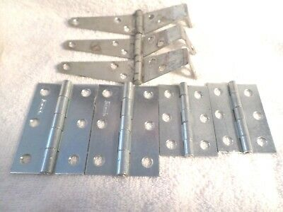 """Vintage Set of 3 Barn Door Gate 6"""" Hinges  And Four  2 1/2"""" & 3"""" Butt Hinges"""