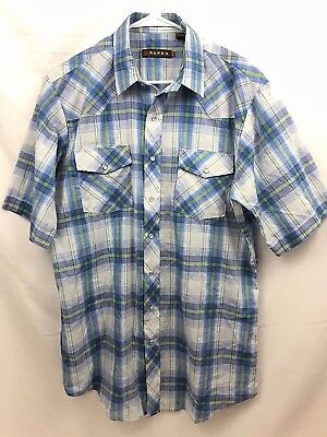 e9af3209 Roper Western Shirt Mens Large Tall Blue Plaid Pearl Snap Short Sleeve Euc