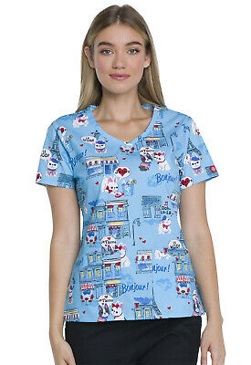 eb43eaaa27a Scrubs Dickies Prints V-Neck Top in Pardon My Frenchie DK721 PAMF FREE  SHIPPING