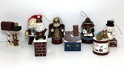 Vintage Wooden Christmas Ornaments Handcrafted Painted Brown Wood Lot of 8