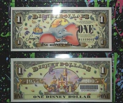 DISNEY DOLLAR 2005 D-SERIES $1 DUMBO SLEEPING BEAUTY CASTLE w/ mylar sleeve mint
