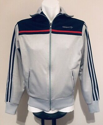 Retro Old School Mens Adidas Track Jacket Red Blue Silver Grey Sz Small