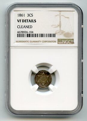 1861 Three Cent Silver (VF Details) NGC.    cleaned.