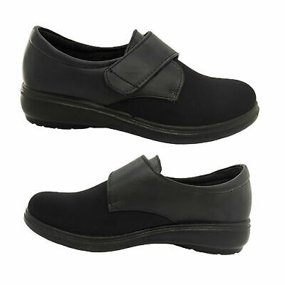 Ladies Shoes Lorella Henna Hook and Loop Stretch Front Orthotic Black Size 5-11