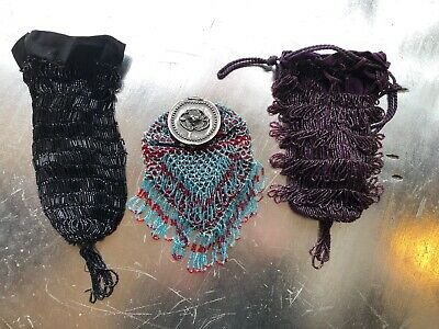 Antique VTG LOT of 3 Beaded Purses Satchel Glass Beads Drawstring Damaged AS-IS