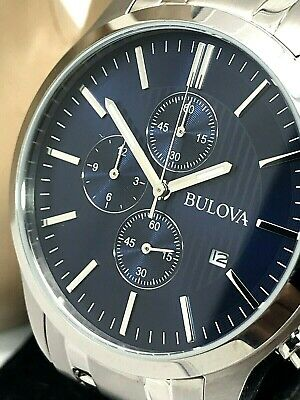 Bulova 96B306 Quartz Chronograph Blue Dial Silver Stainless Steel Men's Watch