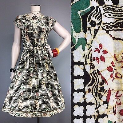 Vtg 50s Dress Cotton Fit Flare Novelty Print Border Fabric 50s Style 60s 70s