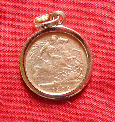Gold Coins -- Half Sovereign In 9Ct Pendant