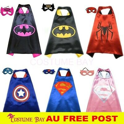 Kids PJ Superhero Cape &  Mask Set Boy Girl Superman Spiderman Halloween Costume