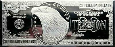 $20 Trillion 4 Ounce .999 Silver Currency Bar
